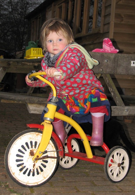 Molly getting to grips with her own steed that I built and painted out of bits I found in someone's dustbin
