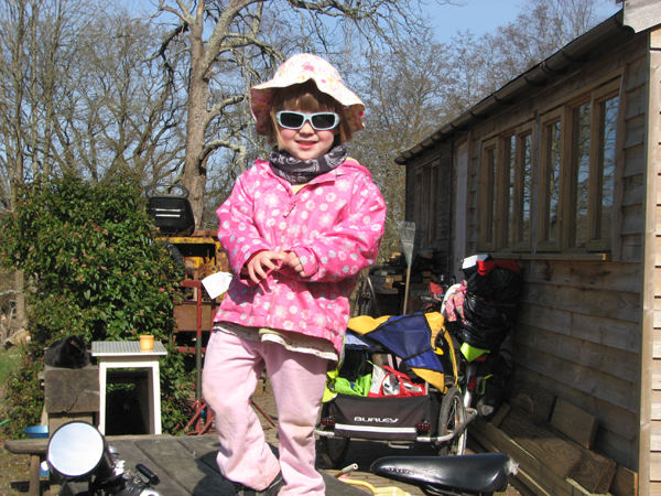 Molly limbering up for a trailer ride