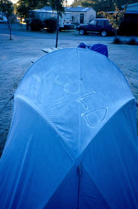 Chilly camping in a minus 7 tent. Near Mount Cook, New Zealand