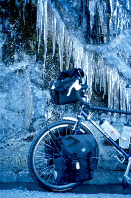 Puncture-spearing icicles on Haast Pass, New Zealand