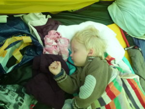 A sleeping contented Jack in tent.