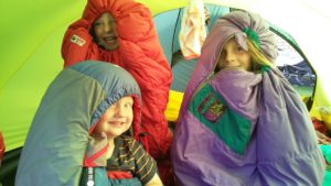 My sleeping-bagged caterpillars. We spent 41 nights away from home. 2 of these were spent sleeping in the North Sea on the ferry. The other 39 were in our Hilleberg Keron 4 GT tent. It was an amazingly good tent and stood up unflinchingly to countless gales, storms, hail, heatwaves, a boisterous herd of drunken German men tripping over it and a rowdy mob of constantly exuberant children running riot within.